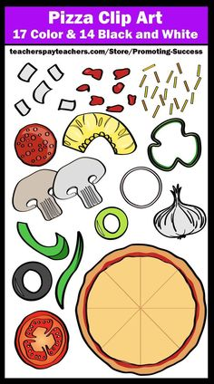 You will receive 31 pizza and pizza toppings clipart graphics (17 colored and 14 black and white). These work well for food themed products, including worksheets, activities, interactive notebooks, foldables, bulletin boards and more. Kids love cute clip art! Teachers may use them in their classrooms for personal or commercial use.