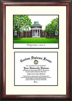University of Delaware Mahogany Diploma Frame & Lithograph