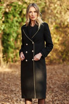 LaDonna black casual straight coat from wool with button accessories Product Label, Straight Cut, November, High Neck Dress, Buttons, Warm, Coat, Long Sleeve