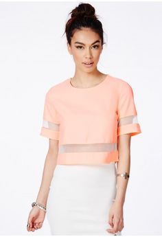 Missguided - Loida Peach Short Sleeve Mesh Panel Crop Top