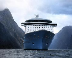 Cruise ship in Milford Sound