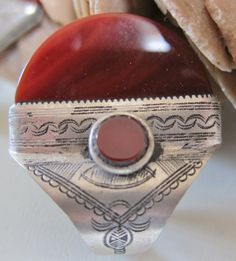 Tuareg Silver Ring with Carnelean Stones by TuaregJewelry on Etsy, $128.00