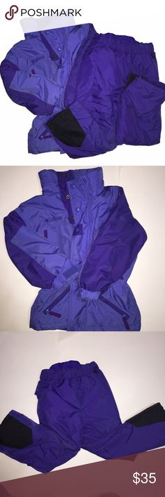 Columbia Girls' Jacket/Snowpants Blue jacket/pants combo size 4/5 by Columbia. Jacket and pants are in overall good gently used condition; there is some fading on snow pant's knees and jacket shows wear from use (small dirt stains/discoloration-not super noticeable). One zipper handle is missing and there is no hood. Still a super warm, cozy, heavy-duty combo for your little one-great for outdoor play!! Columbia Jackets & Coats