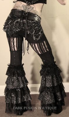 Pants, YOUR SIZE, Noir, Belly Dance,  Black with Ruffles, Black Rock, Tribal, Bellydance, Goth, Exotic, Fusion