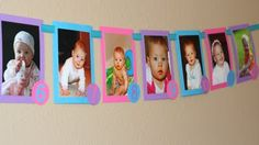 @Kim Benton, first birthday party banner made from monthly pics of first year!