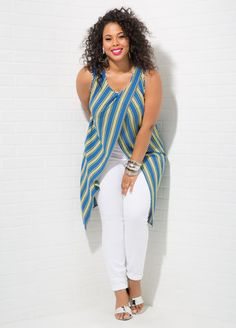 TAKE CENTER STAGE Buy the Look:STRIPED CROSSOVER TUNIC+ULTRA SOFT JEGGING+METALLIC DRESS SANDAL - WIDE WIDTH