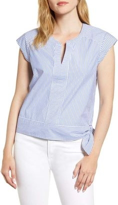 Women's Vineyard Vines Skiff Stripe Side Tie Top, Size 8 - Blue Cap sleeves and a cute hip tie make this striped stretch-cotton top utterly charming. Style Name:Vineyard Vines Skiff Stripe Side Tie Top. Blouse Styles, Blouse Designs, Clothing Patterns, Dress Patterns, Sewing Blouses, Wide Leg Denim, Cute Tops, Shirt Blouses, Spring Outfits