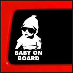 White Baby On Board Car Auto Vehicle Funny Sticker Vinyl - Vinyl decals car wash