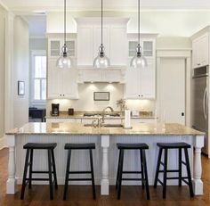 Offering vintage charm, this industrial one-light adjustable mini pendant will add a beautiful accent to any decor. The canopy and socket boast a handsome oil rubbed bronze finish, while the handblown #kitcheninteriordesignwhite