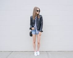 #womensfashion #summerfashion #outfit #leatherjacket #stripedbuttonup #denimshorts #whitesneakers #keds #aeostyle