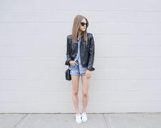 #womensfashion #summerfashion #outfit #leatherjacket #stripedbuttonup #denimshorts #whitesneakers #keds #aeostyle