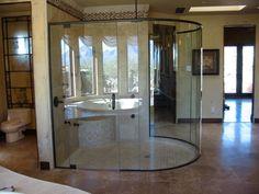 curved frameless shower door