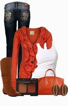 Jean, orange dress, white blouse, long boots and handbag for fall