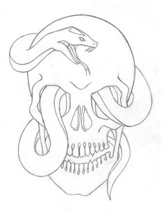 Easy snake drawings skull and snake by easy snake drawing step by Easy Skull Drawings, Scary Drawings, Trippy Drawings, Dark Art Drawings, Art Drawings Sketches Simple, Pencil Art Drawings, Tattoo Drawings, Simple Skull Drawing, Tattoo Outline Drawing