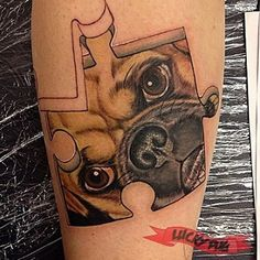 Pug Jigsaw - Artist: Jess of Abandoned Art Tattoo - www.luckypug.com