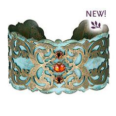 hollyyashi.com   Aziza Cuff Bracelet - brass & hessonite