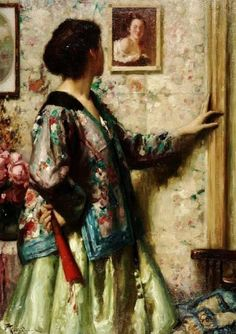 The artlover by the Belgian artist Fernand Toussaint (1873-1956) - Style:Impressionism