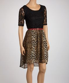 Take a look at this Black Leopard Lace Belted Dress by Luxology on #zulily today! $30 !!