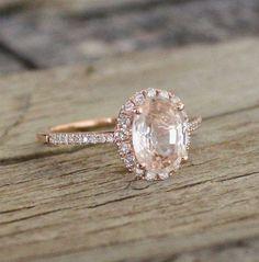 Champagne Peach Sapphire Ring.