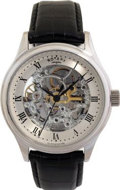 6be43aede72d Rotary Gs02518 06 Automatic Skeleton Stainless Steel   Black Leather Mens  Watch