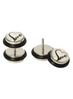 Heart Love Faux Plug Earrings