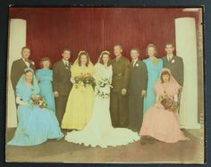 Wedding Party Fabulous 1945 Original Vintage Colorized Photograph~Soldier | Collectibles, Photographic Images, Contemporary (1940-Now) | eBay!