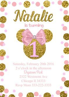 Minnie Mouse Birthday Invitation Faux Glitter Gold