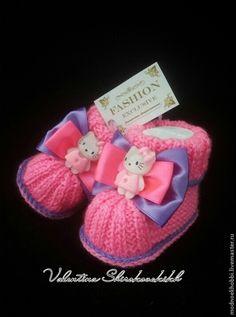 """Для новорожденных, ручной работы. Ярмарка Мастеров - ручная работа Пинетки""""Hello Kitty:. Handmade."""