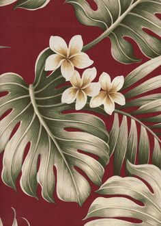 Vintage Style Hawaiian Fabrics   			Cotton Poplin, 44/45 inch Wide, All-Over. Monstera and palm fronds with plumeria flowers.Add Discount code: (Pin10) in comment box at check out for 10% off sub total at BarkclothHawaii.com