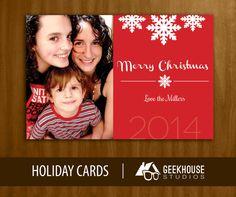 Modern Snowflake Christmas Card Digital File by GeekHouseStudios