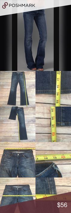 🌾Size 26 7 for all Mankind Flare Jeans Low Rise Measurements are in photos. Normal wash wear, shows some wear on the bottom hems. no other flaws. D1  I do not comment to my buyers after purchases, do to their privacy. If you would like any reassurance after your purchase that I did receive your order, please feel free to comment on the listing and I will promptly respond. I ship everyday and I always package safely. Thanks! 7 For All Mankind Jeans Flare & Wide Leg