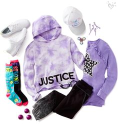 Comfy-cool outfit dipped in color and sprinkled with Justice spirit. Girls Fashion Clothes, Teenage Girl Outfits, Cute Girl Outfits, Teenager Outfits, Tween Fashion, College Outfits, School Outfits, Outfits For Teens, Trendy Outfits