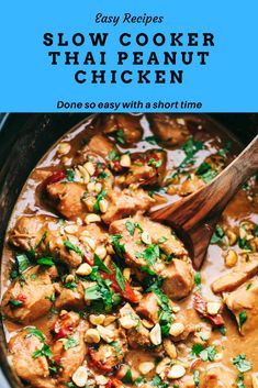 Slow Cooker Thai Peanut Chicken is a creamy, peanut flavor infused chicken that … - Crock Pot Recipes Site Thai Peanut Chicken, Peanut Chicken Recipe Chinese, Thai Peanut Noodles, Thai Noodles, Sesame Chicken, Teriyaki Chicken, Rice Noodles, Crock Pot Cooking, Cooking Turkey