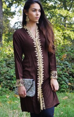 Brown Tunic Dress with Gold Embroidery-Samia- perfect for birthday gifts,resort wear, Valentine's day, winter wear, boho dresses