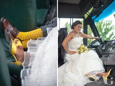school bus, yellow socks, yellow shoes, wedding shoes, grey suit, brown shoes, bride driving school bus, yellow flower bouquet, OceanCliff Wedding, Newport, RI #aubreygreenephoto