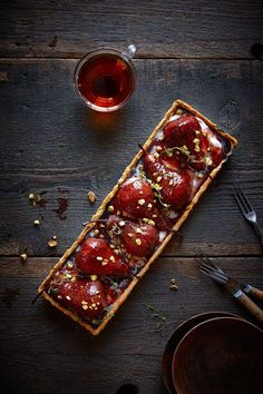 Poached pear tart by Lew Robertson Photography