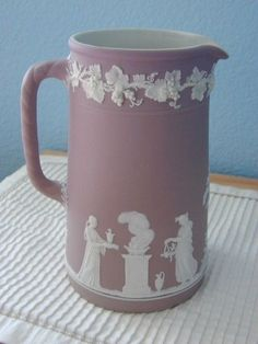 Wedgwood lilac dipped jasperware 7 1/2 tall jug WW England mark