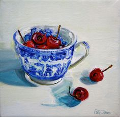 In Season, Cherries in Blue Willow painting.   Need this for my kitchen
