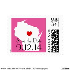 White and Pink Wisconsin Save the Date Postage Stamp