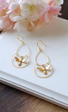 Gold Bee Earrings Bee Dangle Earrings Chandelier by LeChaim