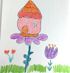 Pink Orange House Gnome House Green Leaf Purple by LilyMoonsigns