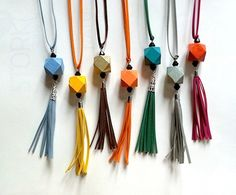 Long Necklace with color wood bead with tassel. Recommend to women, young women, lovers of natural materials. Eco friendly – a unique product by artpoint42 via en.DaWanda.com