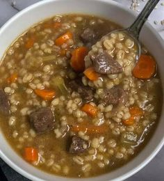 Best Ever Beef Barley Soup – Nine Recipes! Soup Recipes, Cooking Recipes, Beef Recipes, Yummy Recipes, Barley Recipes, Cooking Food, Simple Recipes, Drink Recipes, Gourmet