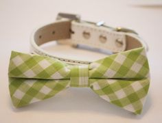Plaid Light Green Dog Bow tie with High Quality White Leather Collar, Cute Dog Bow tie, Wedding Dog Bow tie