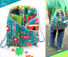 String Style Backpack with Front Crossover Pockets | Sew4Home @sew4home