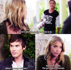 Shared by Chiara Scarone. Find images and videos about christmas, pll and ashley benson on We Heart It - the app to get lost in what you love. Caleb Pretty Little Liars, Pretty Little Liars Quotes, Pretty Little Liers, Danielle Campbell The Originals, Spencer And Toby, Pll Memes, Red Band Society, Grey Anatomy Quotes, Favorite Tv Shows