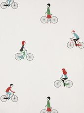 Wallpaper Design 'Cycling' reference 2300061 - Roll Size: 10 metres x Moon Design Free Wallpaper Samples, Wallpaper Collection, Bike Illustration, Paper Moon, Decoupage Paper, Designer Wallpaper, Pattern Design, Print Patterns, Cycling