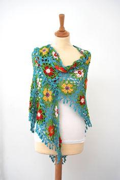 Colorido chal al crochet  ✄ ✿ ✄ ✿