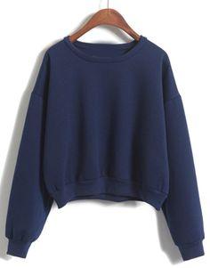 Round Neck Crop Loose Navy Sweatshirt