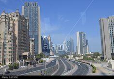 Dubai Skyline and Motorway Highway with Blue Sky